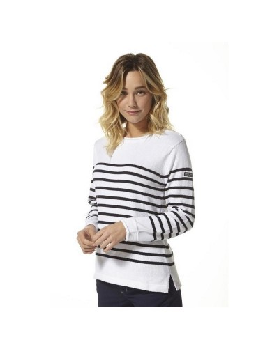 Pull marin femme boutons épaule