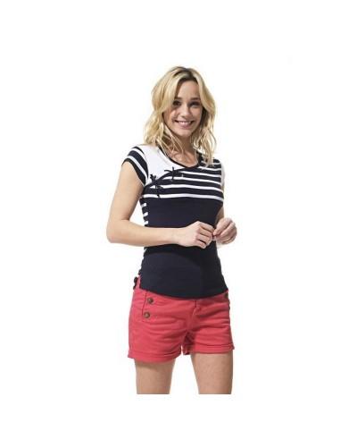 T-shirt rayé femme manches courtes