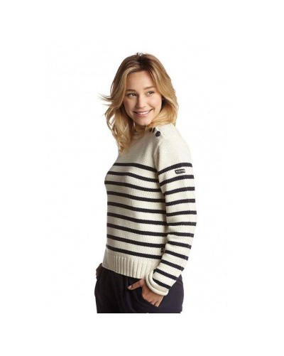 Pull marin boutons épaule femme