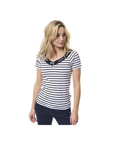 T-shirt femme col V avec lacets AMBRE